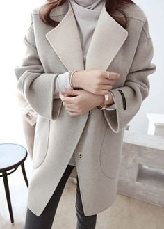 Light Grey Long Sleeve Pocket Design Coat on sale only US$32.73 now, buy cheap Light Grey Long Sleeve Pocket Design Coat at lulugal.com