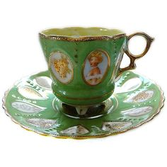 Woman In Window Cameo Portrait Tea Cup Saucer Set Old Occupied Japan... ($48) ❤ liked on Polyvore featuring home, kitchen & dining and drinkware