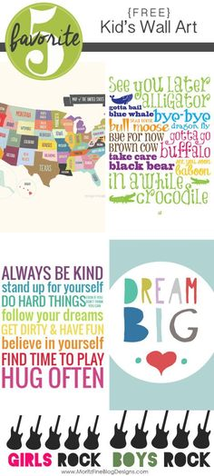 Free Printable Kid Room Wall Art