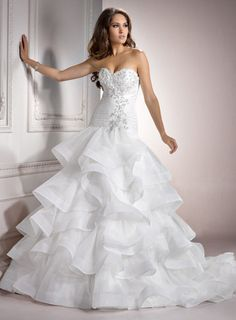 Maggie Sottero Spring 2012 - Diamond White Pleated & Ruffle Layered Organza Strapless Beaded Drop Waist Lorelei Wedding Gown - 0 - 28