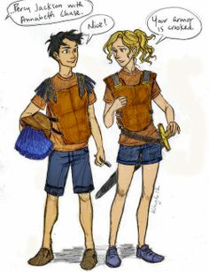 Percy Jackson and Annabeth Chase, The Battle of the Labyrinth. Art by Burdge.