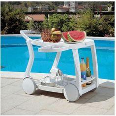 Outdoor Pool Serving Folding Rolling Beverage Bar Cart Patio Deck Porch Patio