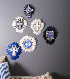 Jai Vasicek - Byron Bay Artist Beautiful Handmade Ceramic Crosses adorned with feathers. (The General Store Furniture Co)