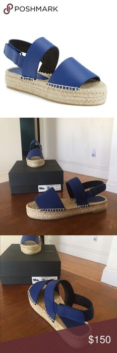 """NIB VINCE Cobalt Emilia Espadrille Various sizes Guaranteed Authentic. Org retail: $300. New, never worn; comes with box (slight damage) and dust bag. Blue leather bands, with espadrille platform. Velcro closure. Size 40 (10); 39 (9). 1"""" platform. Also available in taupe. Shoes have been store handled. NO TRADES. Open to offers through the offer button ☺ Vince Shoes Sandals"""