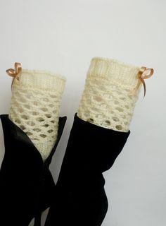 Lace Boot Cuff, Knit Boot Cuff, Crochet Boot Cuff, Ecru Lace Short Boot Cuff , Ecru color, Spring Boot Cuff, wellies boot cuff. $13.00, via Etsy.
