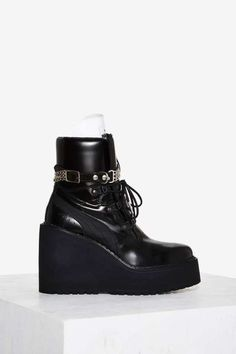 605975bcba7 FENTY PUMA by Rihanna Leather Sneaker Boot Wedge Black Wedge Shoes