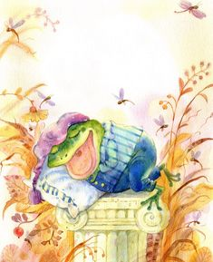 Просмотреть иллюстрацию Лягух спит из сообщества русскоязычных художников автора Светлана Емельянова в стилях: Детский, нарисованная техниками: Акварель.