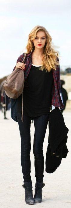 Plaid shirt, black tee, black skinnies, & black ankle boots