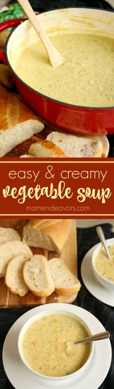 Easy & Creamy Vegetable Soup - chock full of vegetables, this soup is easy to make and hearty with a creamy, cheesy taste!