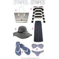 Stripes..stripes by pretty-updates, via Polyvore