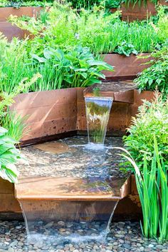 A Garden for First Touch at St Georges: Detail of stream contained by corton steel sides with hostas, ferns and iris - Designer: Patrick CollinsSponsors: St Georges Hospital and Medical School, Tendercare, Landscape Associates2014 RHS Chelsea Flower Show garden awarded Silver Gilt medal