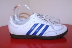 Adidas Shoes 7 White Blue Samba Classic Originals Leather Sport Soccer Sneaker #Adidas #AthleticSneakers