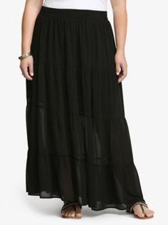 Chiffon Tiered Maxi Skirt