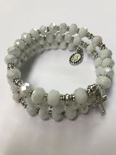 Rosary Bracelet Wrap,White Rosary Bracelet,Catholic Rosary Bracelet,Rosary Bracelet by DSMRosaries on Etsy Handmade Keychains, Handmade Bracelets, Handmade Jewelry, Beaded Bracelets, Rosary Bracelet, Rosary Catholic, Beading Projects, Bracelet Making, My Etsy Shop