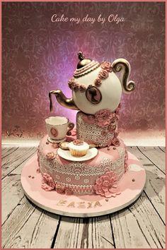 Tea Party Cakes on Cake Central<br> Fondant Cupcakes, Cupcake Cakes, Gorgeous Cakes, Amazing Cakes, Pretty Cakes, Bolo Fack, Teapot Cake, Gravity Cake, Alice In Wonderland Cakes