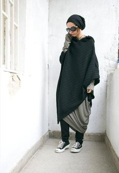 Black+Hooded+Knit+Poncho+Extravarant+Knit+Asymmetric+Hoodie
