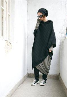 Black+Hooded+Knit+Poncho+Extravarant+Knit+Asymmetric+Hoodie