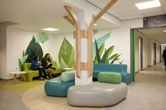 Children and young people's waiting areas are defined by organic shaped furniture