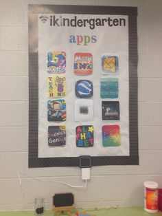 This bulletin board shows the students what apps they are allowed to use for certain activities.