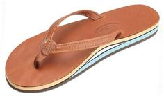 5d93a67f4 Women s Thin Strap Double Layer Classic Leather Sandal in Tan with Blue  Arch by Rainbow Sandals