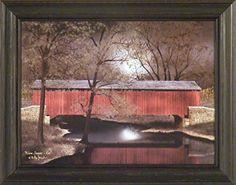 Warm Summer's Eve by Billy Jacobs 15x19 Red Covered Bridge Night Full Moon Reflection River Stream Primitive Folk Art Framed Picture Home Cabin Décor http://www.amazon.com/dp/B00N570XAC/ref=cm_sw_r_pi_dp_gHQCub10M4J3F