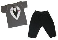 Riverstone Goods Formal Carnation Tuxedo Baby/Toddler T-Shirt & Pants Set.... He can wear this for the dress rehearsal