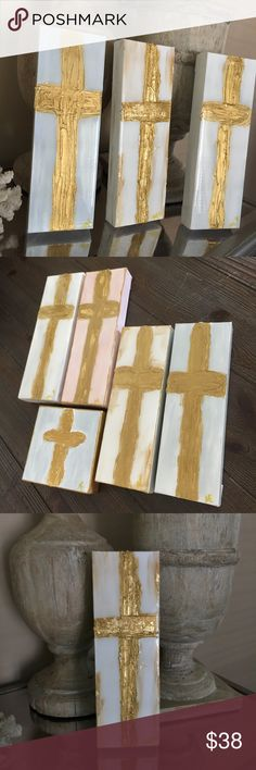 Abstract cross paintings Perfect baby, wedding or hostess gifts. Crosses are done with acrylic paint, gold leaf, and a high gloss resin finish. 4X7 inches Other