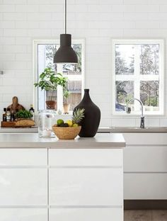 white & gray kitchen
