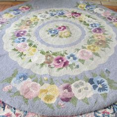 Vintage HM Wool NEEDLEPOINT Rug Colorful PANSIES on Blue COTTAGE Style Round 45