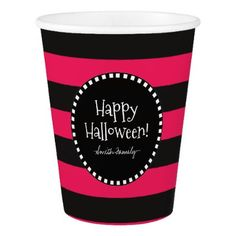 Happy Halloween! Witch's Whimsical Stripes Paper Cup - halloween decor diy cyo personalize unique party