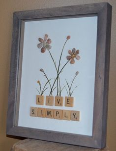 LIVE SIMPLY pebble art shadow box scrabble by BeachMemoriesByJools