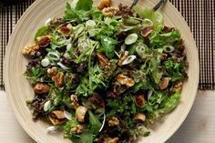 just made this green aromatic salad for lunch.a delicious choice for a winter menu Nut Recipes, Greek Recipes, Salad Recipes, Cooking Recipes, Healthy Recipes, Buffet Recipes, Recipies, Salad Bar, Soup And Salad