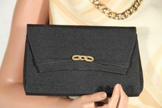 f944030d0a6f Authentic rare GUCCI Italian vintage Black Fabric clutch Purse evening bag  Handbag Vintage Italian