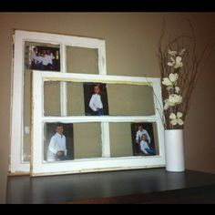 Two old window panes found in shed. Now display family pics with absolutely no clean up. Personal pin