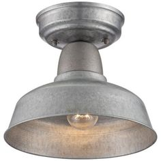 "Barn 10"" Wide Galvanized Outdoor Ceiling Light"