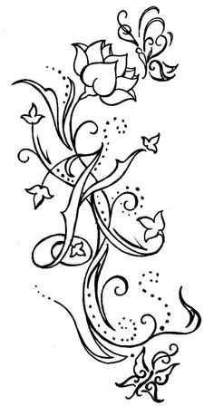 Swirls with Flower Butterflies and Initial Tattoo by ~Metacharis on deviantART
