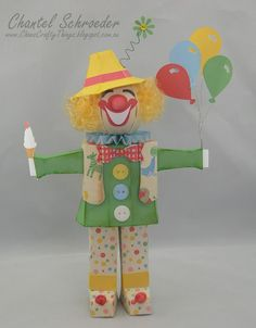 Chan's Crafty Things: Clowning Around: I used the scarecrow file from the Leaves are Falling #SVGCuts kit and changed him up a bit... I just love how this little guy turned out!  He's so happy and bright!  I also used some elements from A Day at the Carnival Collection for his facial features, balloons and ice cream.