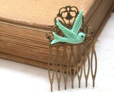 Hair Comb -  Mint Green Maroon Bird in Flight Hair Comb  Antique Victorian Style.