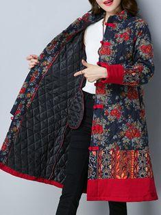 Vintage Women Printed Plate Buckle Long Sleeve Women Coats