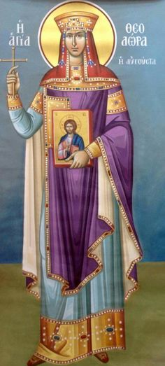 consort of Justinian I. Byzantine Icons, Byzantine Art, Religious Icons, Religious Art, Saint Katherine, Greek Icons, Russian Icons, Russian Orthodox, Colors