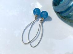 Sky blue jade gemstone earrings, .925 sterling silver, mother of bride #gift, daughter mom gift under 30, handmade light blue jean earrings ________________________  Full-bo... #etsy #etsymntt #giftideas ➡️ http://etsy.me/1RctabE