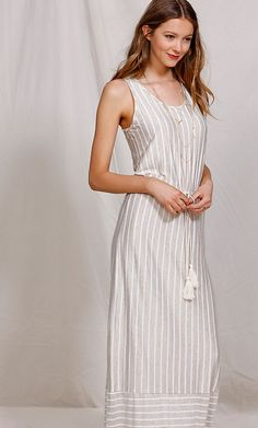 Casual Striped Maxi Dress #goldentote