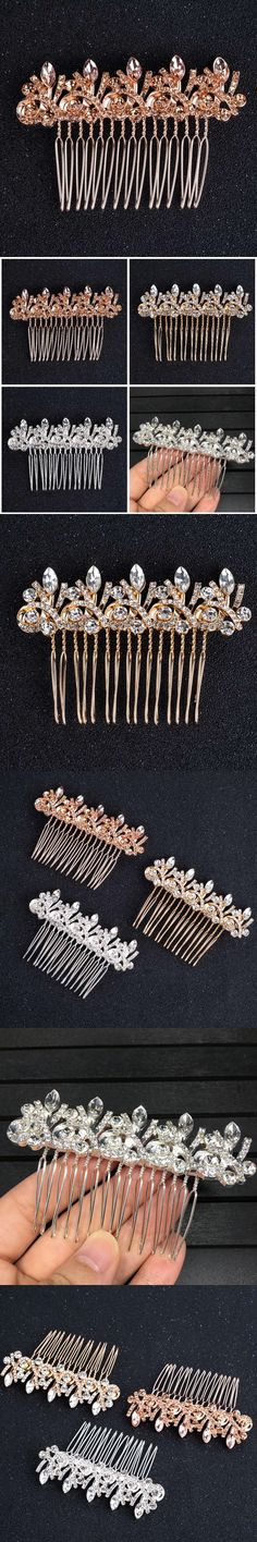 Fashion Women Bridal Wedding Crystal Jewelry Hair Comb Clip Slide Fascinator Hairpiece HS11