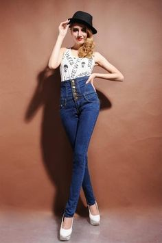 HIGH WAIST ELASTIC JEANS-JEANS-modefame $45.99