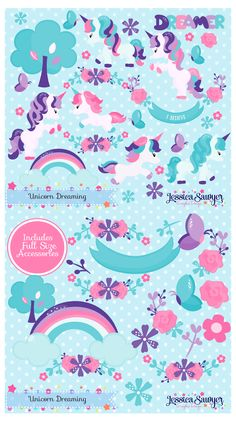 Unicorn Clipart and vectors for a unicorn party, products, and crafts