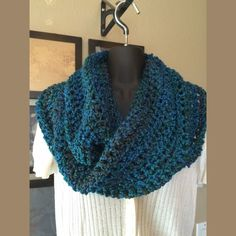 Infinity Scarf Beautiful hues of blue, green & brown.  Long and soft polyester.  Wear long or wrapped around your neck.  Can also be draped over your head. Handmade Accessories Scarves & Wraps