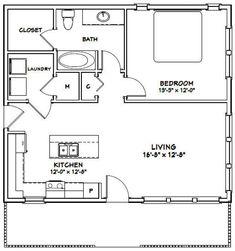 30x26 House 1-Bedroom 1-Bath 780 sq ft PDF Floor Plan | Etsy
