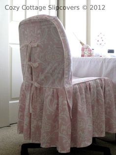 Cozy Cottage Slipcovers: Pink Damask Office Chair Slipcover