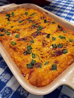 Sounds delicious! Prob gonna make this and buff chick dip for the Super Bowl! BBQ Chicken Dip--chicken, cream cheese, bbq sauce, ranch dressing, sour cream, cheddar cheese, green onion--I added a bag of real bacon bits