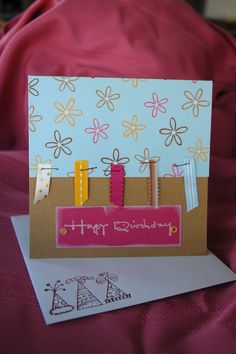 Scraps of ribbon and stamps on the envelope; great ideas